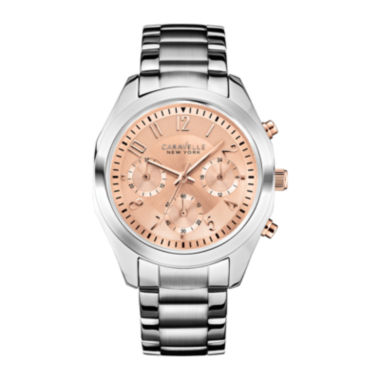 jcpenney.com | Caravelle New York® Womens Rose-Tone Dial Chronograph Watch 45L143