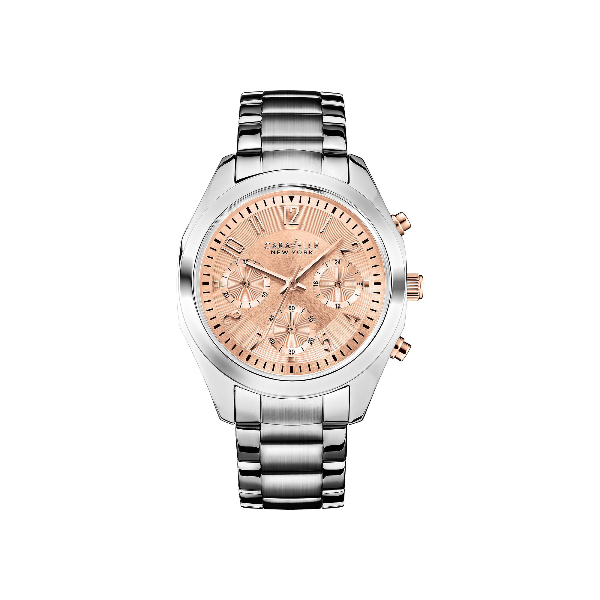 Caravelle New York Womens Rose-Tone Dial Chronograph Watch 45L143