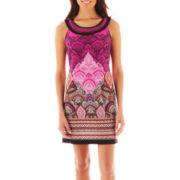 Studio 1 Sleeveless Ribbon-Neck Print Dress - Petite