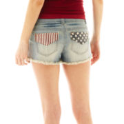 Hot Kiss American Flag Light Wash Shorts
