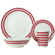 Red Vanilla Bone China Race Stripe 16-pc. Dinnerware Set