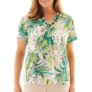 Alfred Dunner Beekman Place Tropical Print Knit Top