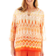 Alfred Dunner® Tuscan Sunset 3/4-Sleeve Ikat Print Tunic Top
