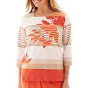 Alfred Dunner Tuscan Sunset Striped Floral Top