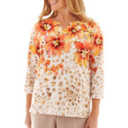 Alfred Dunner Tuscan Sunset Animal Floral Knit Top - Petite
