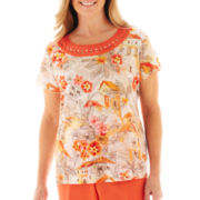Alfred Dunner® Tuscan Sunset Crochet-Neck Scenic Print Knit Top