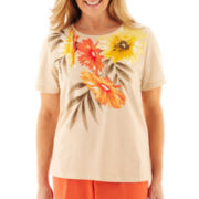 Alfred Dunner Tuscan Sunset Tropical Yoke Knit Top