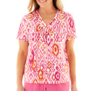 Alfred Dunner® Classics Short-Sleeve Ikat Print Knit Top - Petite