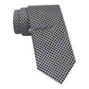 JF J. Ferrar® Geo Print Slim Tie w/Tie Bar