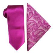 JF J. Ferrar® Solid Slim Tie and Paisley Pocket Square Set