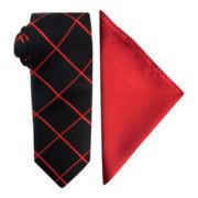 JF J. Ferrar® Grid Slim Tie and Solid Pocket Square Set