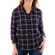 jcp Long-Sleeve Silk-Blend Shirt - Plus