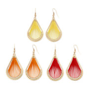 Arizona 3-pr. Teardrop Threaded Earrings