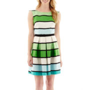 Danny & Nicole® Sleeveless Belted Striped Dress - Petite
