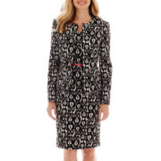 Black Label by Evan-Picone Print Piqué Knit Jacket or Sheath Dress