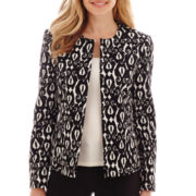 Black Label by Evan-Picone Print Piqué Knit Jacket