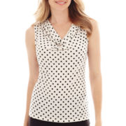 Black Label by Evan-Picone Polka Dot Pleat-Neck Knit Cami