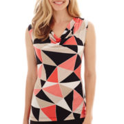 Black Label by Evan-Picone Sleeveless Cowlneck Print Cami
