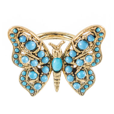 jcpenney.com | KJL by KENNETH JAY LANE Gold-Tone Aqua Butterfly Ring