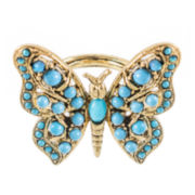 KJL by KENNETH JAY LANE Gold-Tone Aqua Butterfly Ring