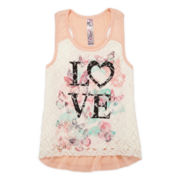 Knit Works Lace-Front Tank Top – Girls 7-16