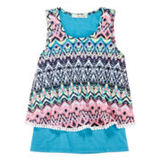 Self Esteem® Crochet-Trim Overlay Tank – Girls 7-16