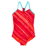 Nike® Tonal Racerback Swimsuit – Girls 7-16