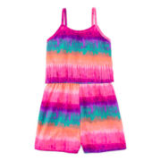 Total Girl® Rainbow Tie Dye Fringe Romper - Girls 7-16