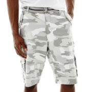 Plugg® Pitbull Poplin Camo Belted Cargo Shorts