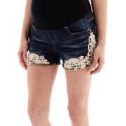 Tala Maternity Overbelly Lace-Side Frayed-Bottom Shorts