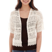 Takeout Short-Sleeve Crochet-Trim Cropped Cardigan