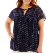 Liz Claiborne® Short-Sleeve Tie-Neck Print Blouse - Plus
