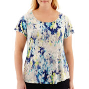 Liz Claiborne® Flutter-Sleeve Watercolor Floral Print Top - Plus