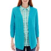 St. John's Bay® 3/4-Sleeve Pointelle Flyaway Cardigan