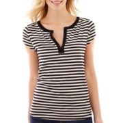 Liz Claiborne® Short-Sleeve Striped Henley Top