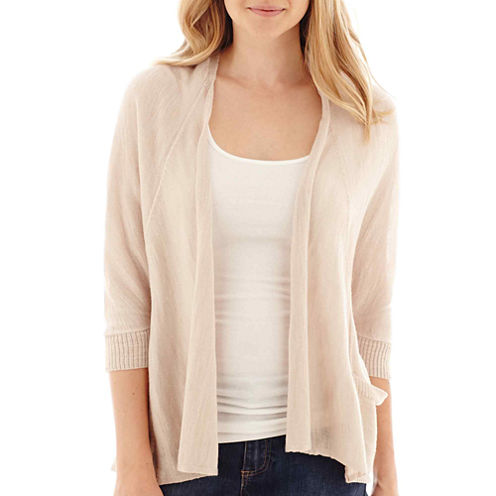 a.n.a® 3/4-Sleeve Open-Front Oversized Cardigan