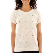 a.n.a® Short-Sleeve High-Low Studded Sweatshirt