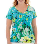 St. John's Bay® Short-Sleeve Shirred V-Neck Top - Plus