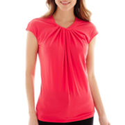 Worthington® Short-Sleeve Roundneck Twist-Front Top