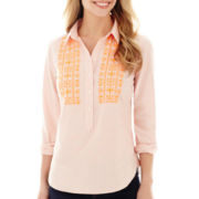 Stylus™ Long-Sleeve Striped Embroidered Popover Shirt