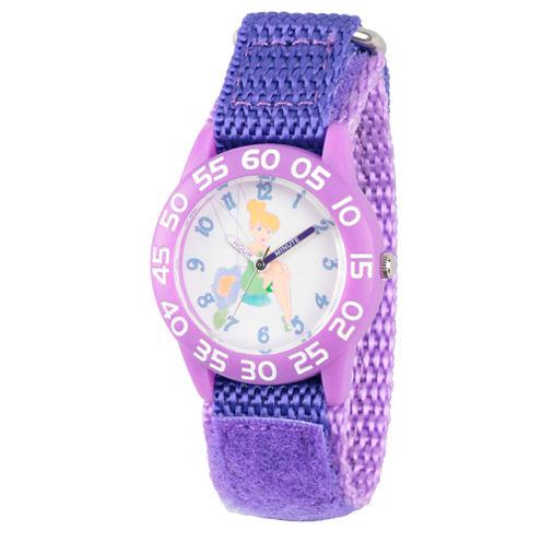 Disney Tinker Bell Girls Purple Strap Watch-Wds000107