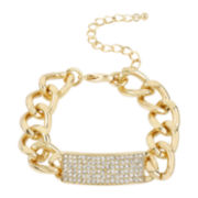 Worthington® Gold-Tone Link Crystal ID Bracelet