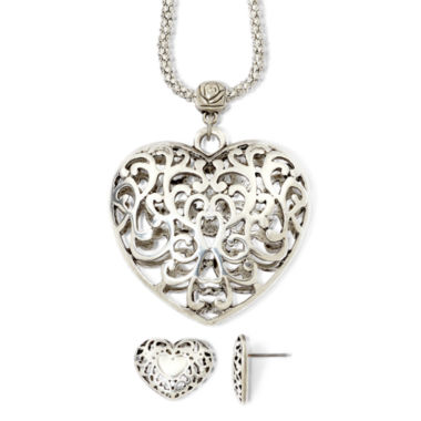 jcpenney.com | Scroll Heart Pendant Necklace & Drop Earrings Boxed Set