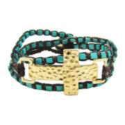 Pannee Hammered Cross Rope Bracelet