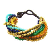 Pannee Brown Rope Bracelet with Gold Beads