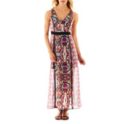 nicole by Nicole Miller Sleeveless V-Neck Print Maxi Dress