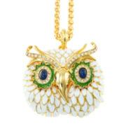 KJL by KENNETH JAY LANE White Enamel Owl Pendant Necklace