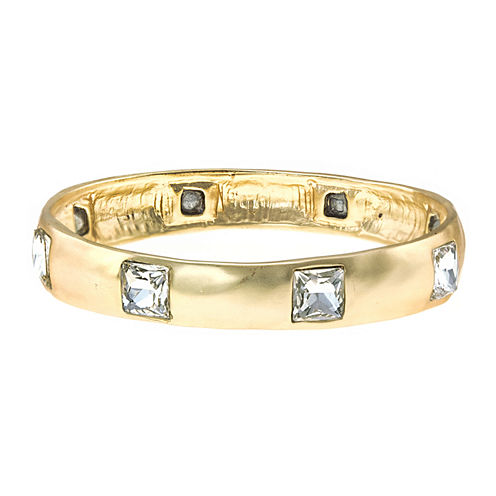 KJL by KENNETH JAY LANE Satin Gold-Tone Square Crystal Bangle Bracelet