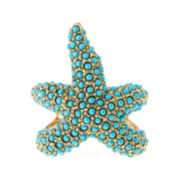 KJL by KENNETH JAY LANE Gold-Tone Aqua Stone Starfish Ring