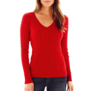 jcp™ V-Neck Cable Knit Sweater
